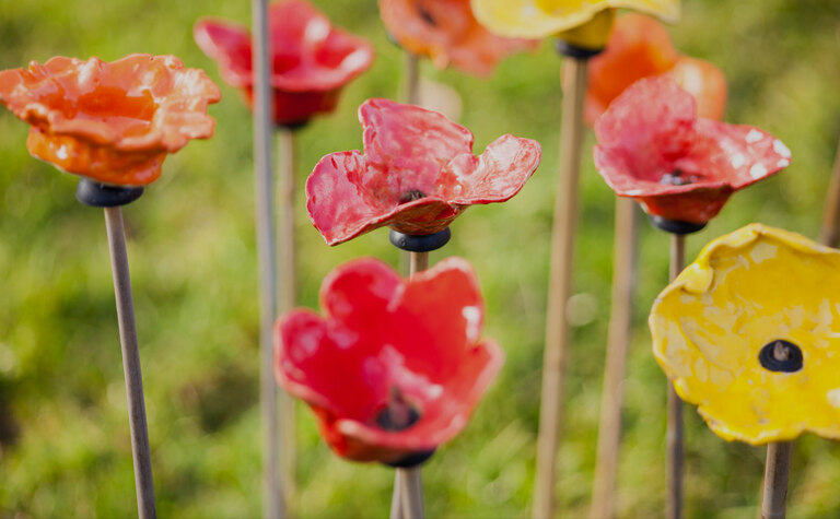 Poppies made by St Margaret's School pupils for Armistice Day