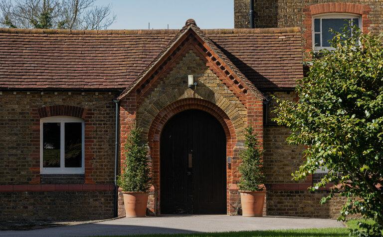 St Margarets School Chapel door on a sunny day