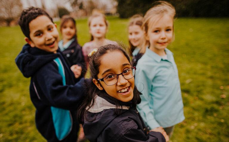 St Margarets School Lower Junior Outdoor Learning pupils team bonding outside