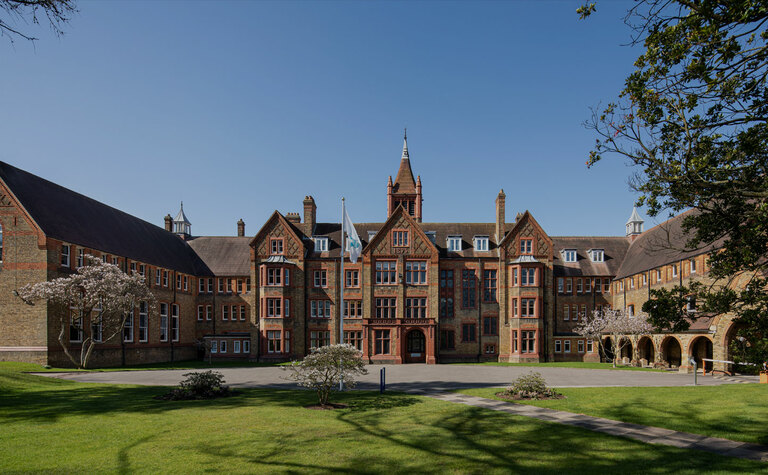 Front of the Waterhouse building at St Margaret's independent day and boarding school in Bushey Hertfordshire