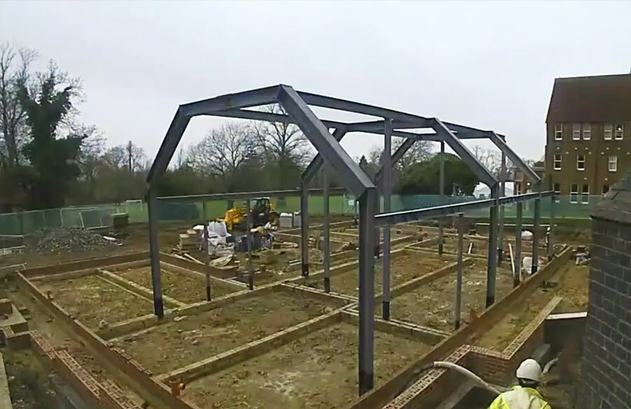 Foundations being laid for the new music centre being built at St Margarets School in Bushey
