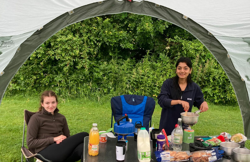 Two St Margaret's School pupils camping on their Duke of Edinburgh's Award expedition