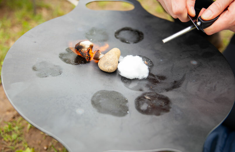 St Margarets School Outdoor Education fire pit being lit