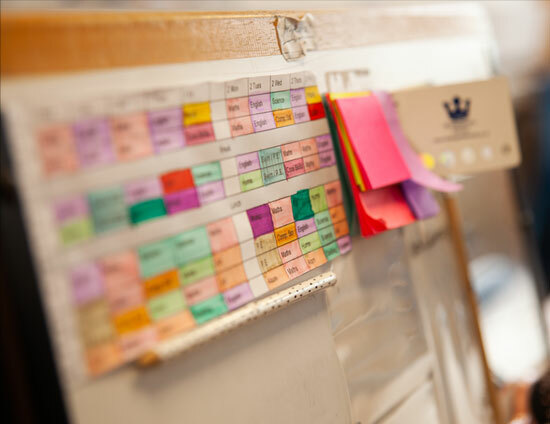 Colourful junior school timetable during the admissions planning process