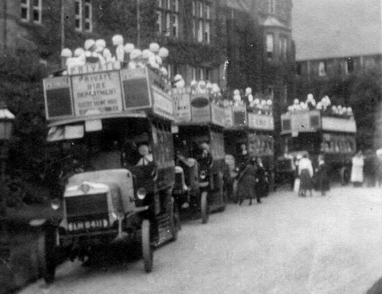 Four double decker buses taking St Margaret's School pupils on a school trip in 1914