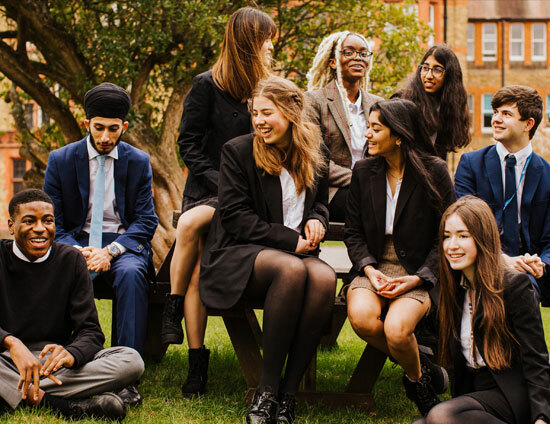 Group photo of St Margaret's School pupils in 2021 featuring Sixth form boys and girls