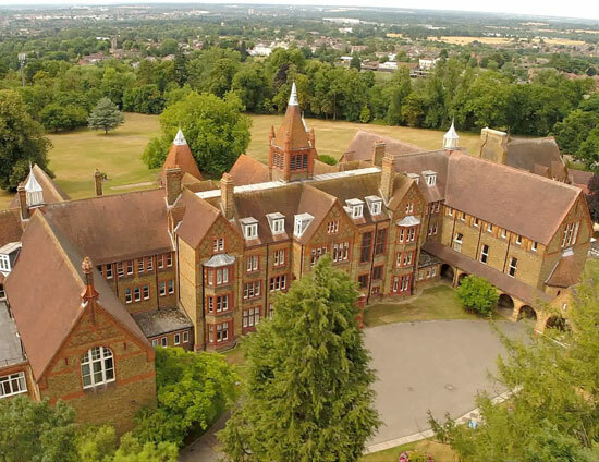 St Margarets School Aerial View taken by drone with Watford on the horizon