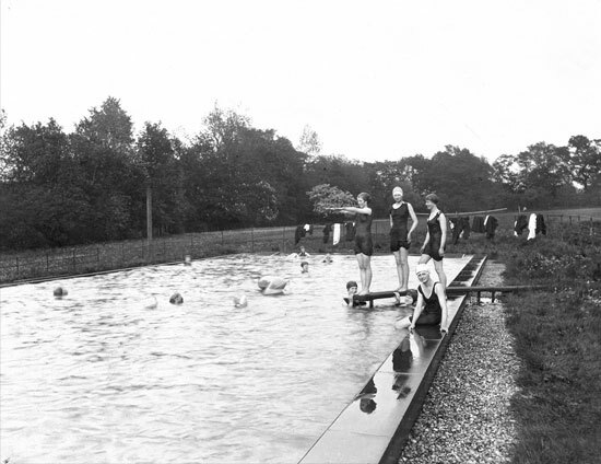 St Margarets School outside swimming pool with a group of female swimmers in 1926