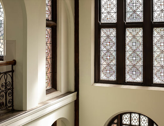 The stained glass windows within the Waterhouse building at St Margarets School Bushey