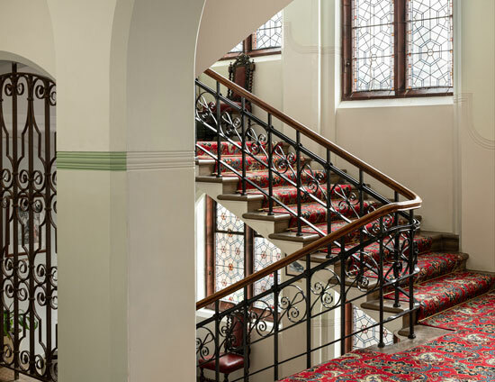 On the main staircase in the Waterhouse building at St Margarets School Bushey
