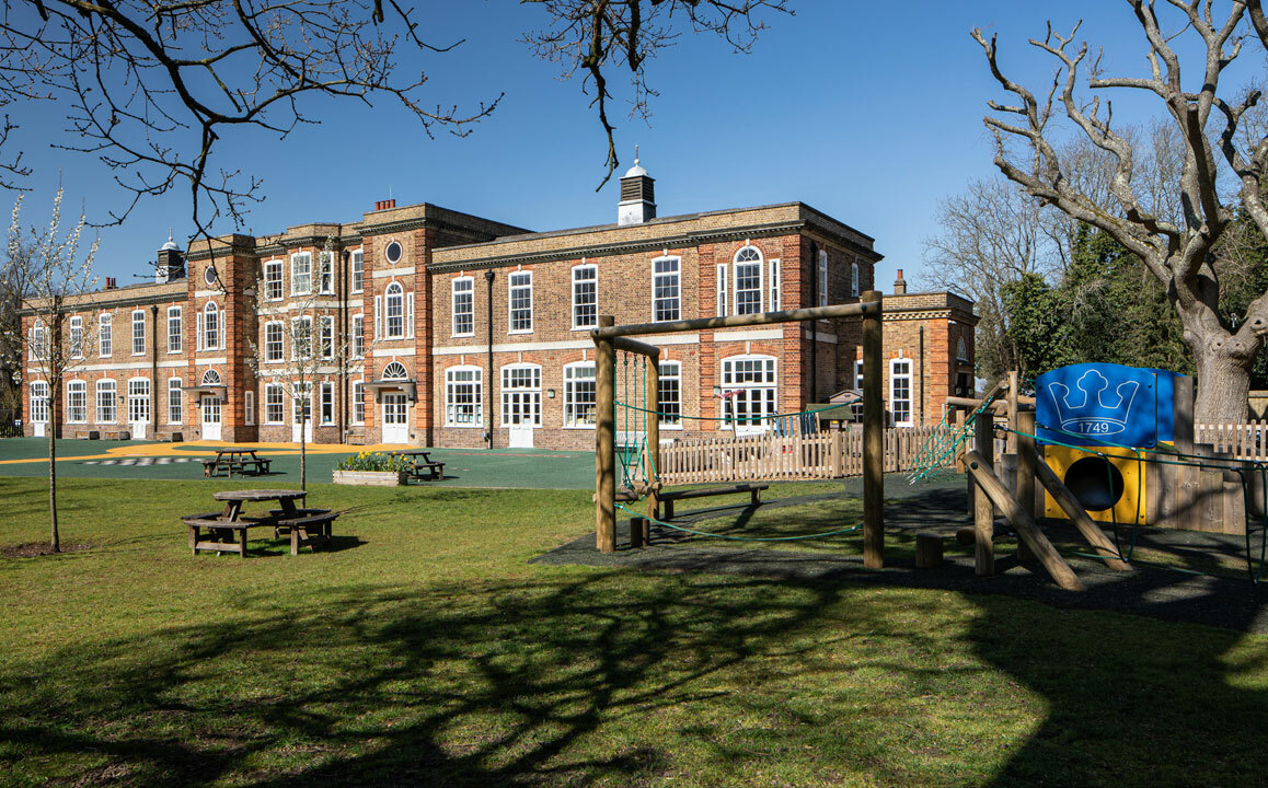 Front view of the beautiful Junior School building at St Margaret's School Bushey