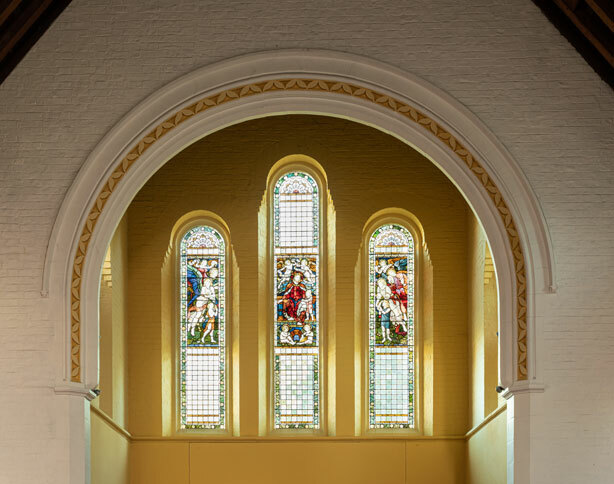 Three of St Margaret's School's Stained glass windows in the Chapel