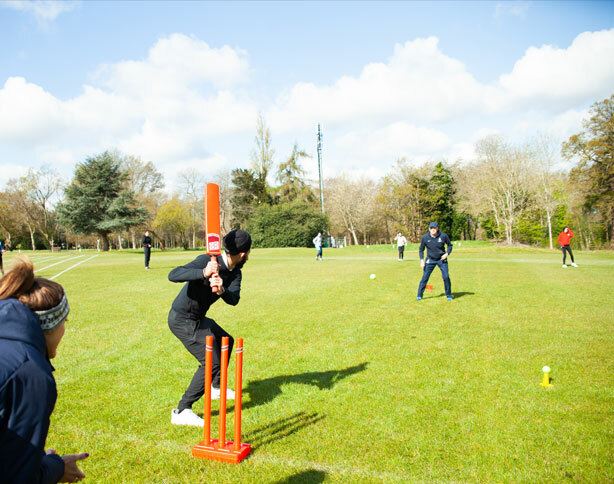 St Margarets School pupils attending a cricket masterclass delivered by Harrow School